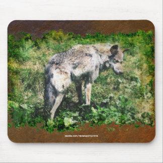 Protección alfa Mousepad de la fauna del lobo gris Tapete De Raton