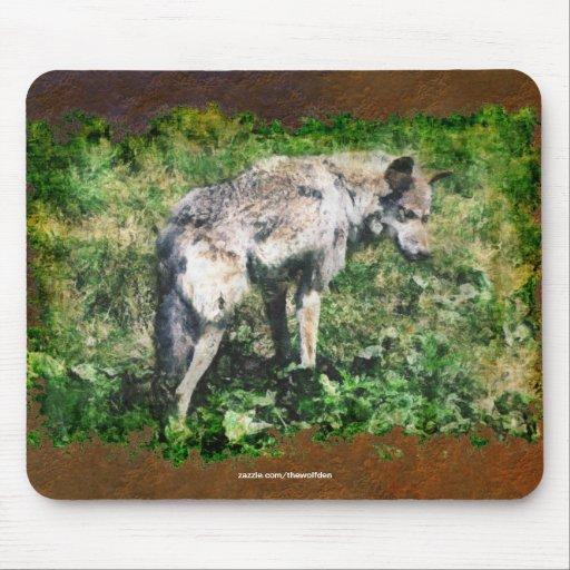 Protección alfa Mousepad de la fauna del lobo gris Alfombrilla De Raton