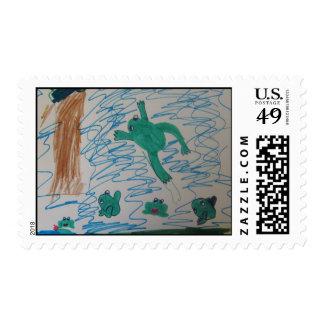 Protección anfibia timbres postales