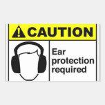 Protección auditiva de la PRECAUCIÓN Rectangular Pegatina