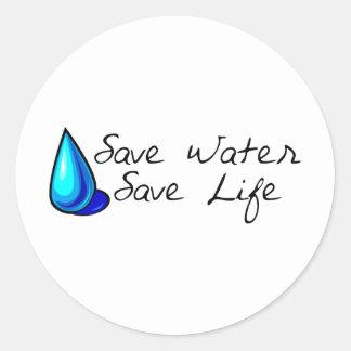 ¡Protección de agua ¡Productos de la ecología Pegatina Redonda