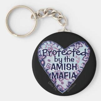 ¡Protección de la mafia de Amish! País de Amish. Llavero Redondo Tipo Pin
