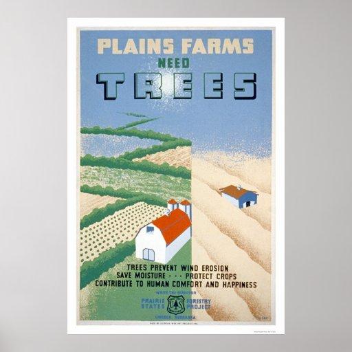 Protección del árbol de la granja WPA 1940 Póster