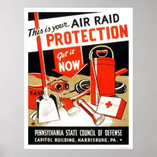Protección del ataque aéreo WPA 1943 Póster