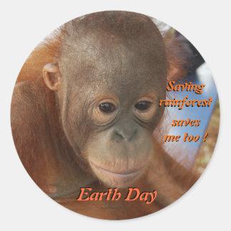 Protección del Día de la Tierra Etiquetas Redondas