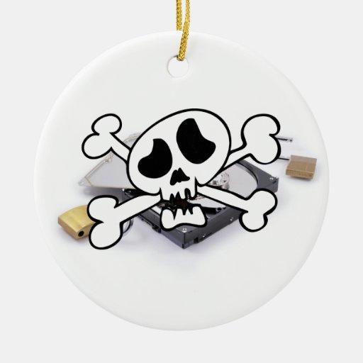 Protección del disco duro rota adorno navideño redondo de cerámica