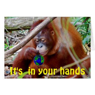 Protección - en sus manos tarjeta de felicitación
