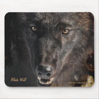 Protección negra Mousepad de la fauna del lobo de  Tapetes De Raton