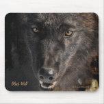 Protección negra Mousepad de la fauna del lobo de  Alfombrilla De Ratón