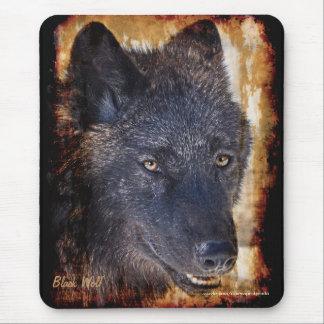 Protección negra Mousepad de la fauna del lobo de  Alfombrillas De Ratones