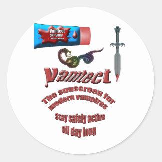 Protección solar del vampiro pegatina redonda