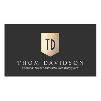 Protección y seguridad del logotipo del monograma plantillas de tarjetas de visita