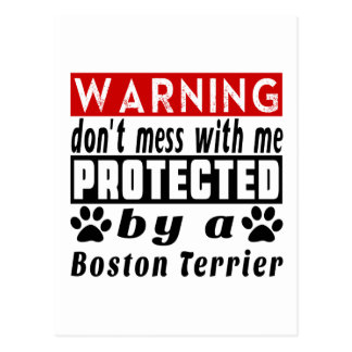 PROTECETED by Boston Terrier Postcard