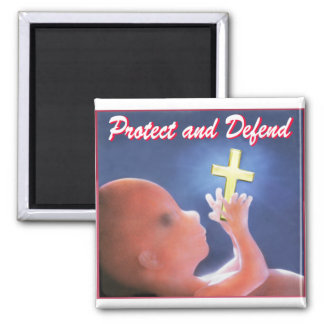 Protect and Defend 2 Inch Square Magnet