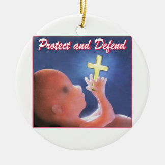 Protect and Defend Double-Sided Ceramic Round Christmas Ornament