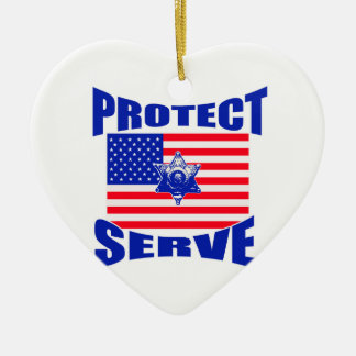 Protect And Serve Ceramic Ornament