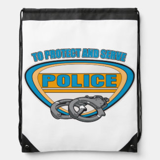 Protect and Serve Handcuffs Drawstring Bag