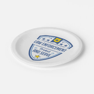 Protect and Serve Police Badge 7 Inch Paper Plate