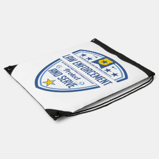 Protect and Serve Police Badge Drawstring Backpack