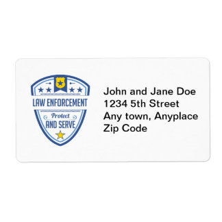 Protect and Serve Police Badge Shipping Label