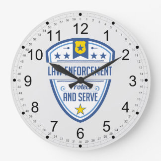 Protect and Serve Police Badge Large Clock