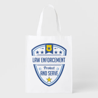 Protect and Serve Police Badge Reusable Grocery Bag