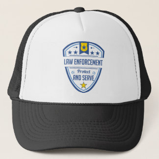 Protect and Serve Police Badge Trucker Hat