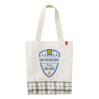 Protect and Serve Police Badge Zazzle HEART Tote Bag