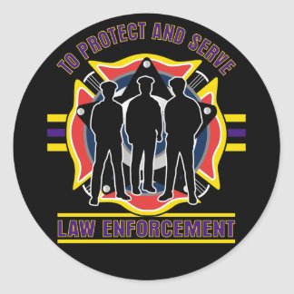 Protect and Serve Police Classic Round Sticker