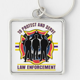 Protect and Serve Police Key Chain