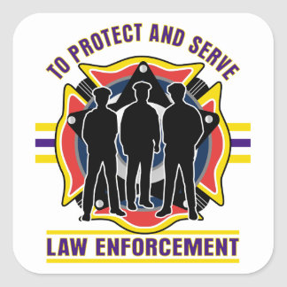 Protect and Serve Police Square Sticker