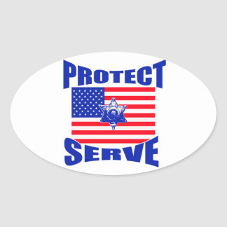Protect And Serve Oval Sticker