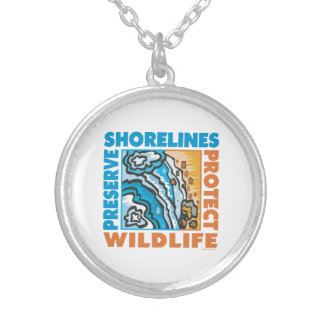 Protect Beaches Silver Plated Necklace