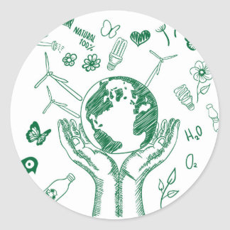 Protect environment classic round sticker