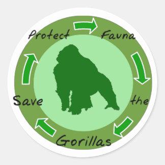 Protect  gorillas classic round sticker