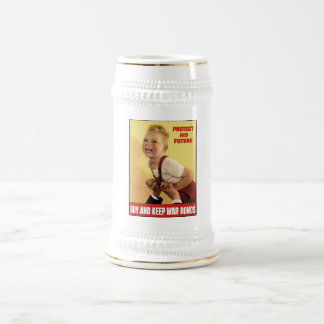 Protect His Future -- Buy War Bonds -- WW2 18 Oz Beer Stein