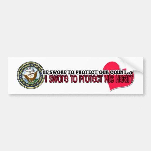 Protect his heart Navy Car Bumper Sticker