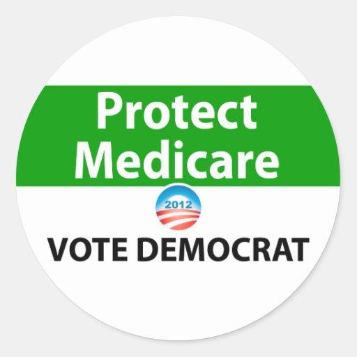 Protect Medicare: Vote Democrat Round Stickers