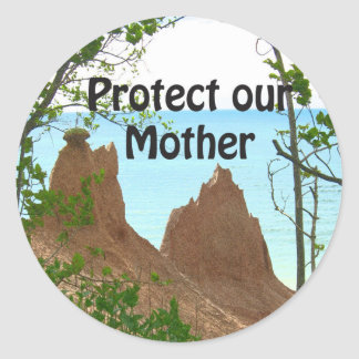 protect our mother classic round sticker