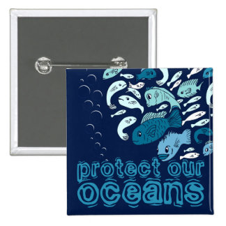 Protect our Oceans Blue Fish Button