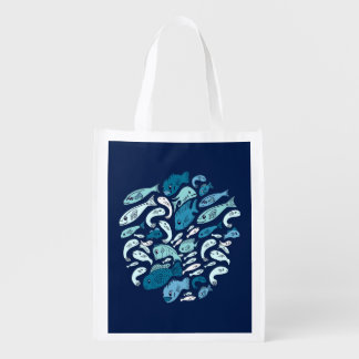 Protect our Oceans Blue Fish Grocery Bag