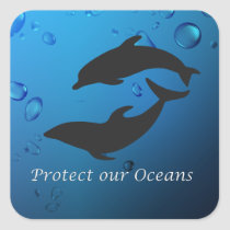 Protect Our Oceans Dolphins Sticker