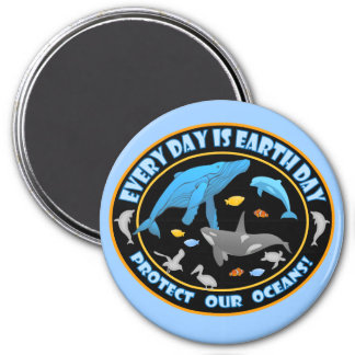 Protect Our Oceans Earth Day 3 Inch Round Magnet