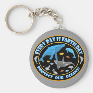 Protect Our Oceans Earth Day Keychain