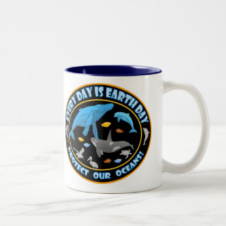 Protect Our Oceans Earth Day Two-Tone Coffee Mug