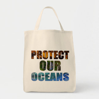 """Protect Our Oceans"" Hawaiian Grocery Tote"