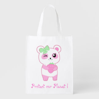 Protect our planet with cute kawaii pink panda reusable grocery bags