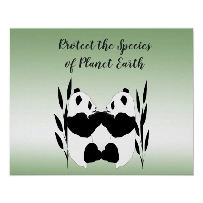 Protect Our Species Panda Earth Day Poster