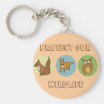 Protect our Wildlife squirrel, fox and owl Keychains