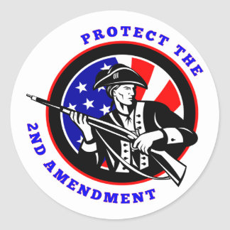 Protect The 2nd Amendment Revolution Classic Round Sticker